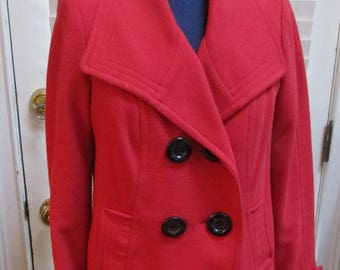 vintage red short jacket double breasted black buttons size 8
