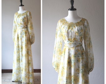 Beautiful Sheer Yellow Floral Bohemian Full Length Vintage Dress / 1960s 1970s