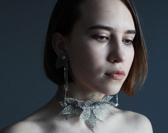 Wedding Silver Set - Silver Wire Crocheted Statement Crystal Choker Necklace &Studs Earrings - Delicate Unique Unusual Wedding Necklace
