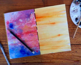 Painted Page Journal, rainbow pages and white leather hinges