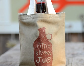 Little Brown Jug Growler Bag, Screen Printed Khaki Canvas Growler Tote, Ready to Ship