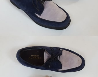 1980s Blue Two Tone Suede Leather Hush Puppies Lace Up Oxfords / Womens 8.5