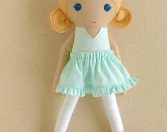 Fabric Doll Rag Doll Blond Blond Haired Girl in Mint Green Patterned Dress with Ruffled Skirt