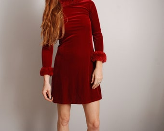 Red small santa faux fur collar cuff stretchy velvet velour long sleeve christmas holiday party mini dress womens ladies vintage clothing