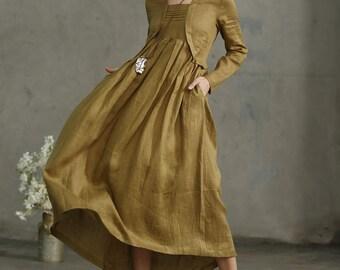 linen dress, Layered Maxi Linen Dress In Golden Green, Pleated Dress Pockets, Long Linen Dress, Loose Fitting Linen Kimono Tunic, Prom Dress