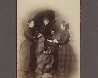 Nicely Posed Cabinet Card of the Three Stevens Sisters