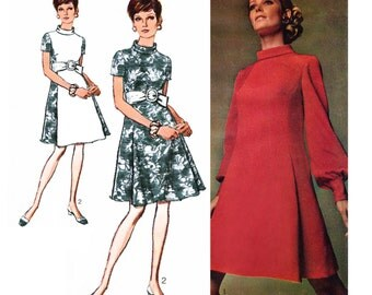 """1969 Designer Fashion Mod Princess Seam Dress, Rolled Collar, Front Soft Pleat Detail, Short or Long Full Sleeves, Simplicity 8031, Bust 36"""""""