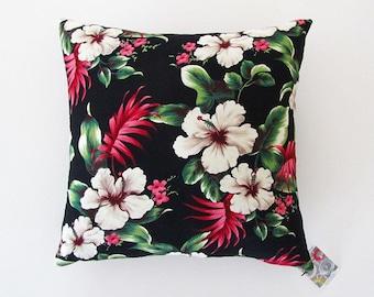 Hibiscus tropical barkcloth cushion cover – black