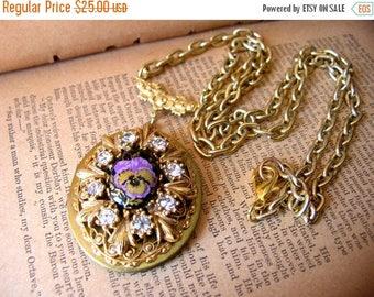 Purple Pansy Locket Necklace - Rhinestone Locket Necklace - Victorian Style