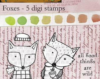 The Foxes - 5 digi stamp bundle