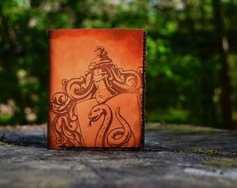 Slytherin Leather Wallet, handmade, Harry Potter
