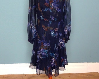 Vintage 70's Feather Print Dress UK Size 12