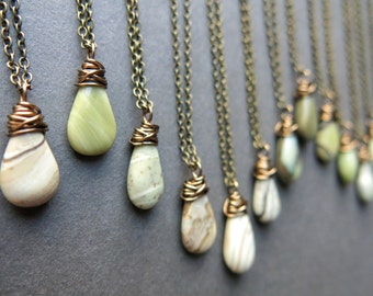 Dainty Boho Necklace - Teardrop Necklace - Everyday Necklace - Green Jasper Necklace - Boho Stone Necklace - Jasper Pendant - Stone Jewelry