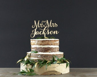 Personalized Wedding Cake Topper - Cake Decor - Wood Cake Topper - Wedding Decoration