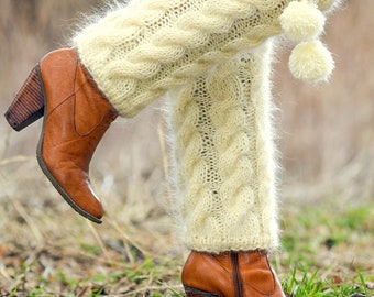 Ivory cable knit mohair leg warmers / gaiters spats by SuperTanya