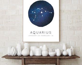 Aquarius Zodiac Constellation Wall Art Print, Astrology Decor, Nursery Wall Art, Aquarius Constellation, Wall Art for Kids, Horoscope Décor