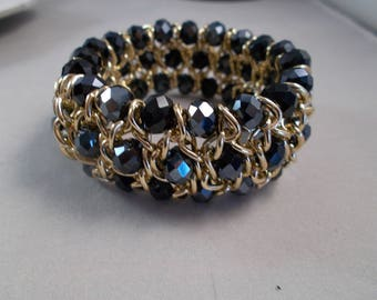 3 Row with Gold Tone Chain and Black Crystal BeadsStretch Cuff Bracelet