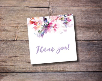 Printable Thank You Favor Tags, Wedding Favor Tag, Flowers, Floral, Wedding Favors, Printable Digital File – Jessica