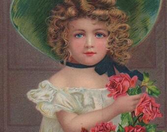Beautiful Girl With Roses - Original Antique Postcard