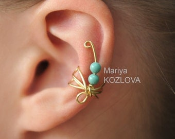 No Piercing Cartilage Ear Cuff Small Fantasy Turquoise Gold Dragonfly/piercing imitation/fake faux piercing/ohrclip/conch jacket manchette