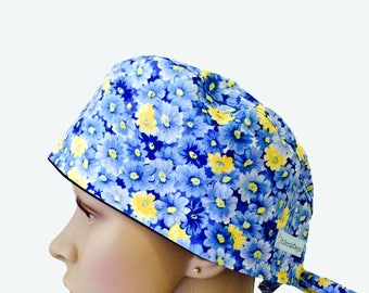Floral Scrub Caps Women, Daisy Scrub Hats, Personalized with Name, Great Nurse Gift Idea, Surgical scrub Hats, Scrub Caps, Scrub Hats