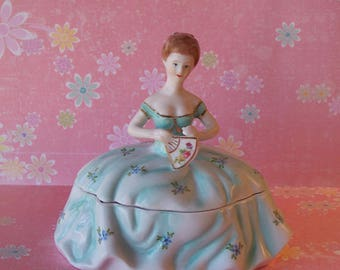 Vintage Style Limoges Victorian Lady Powder or Trinket Box