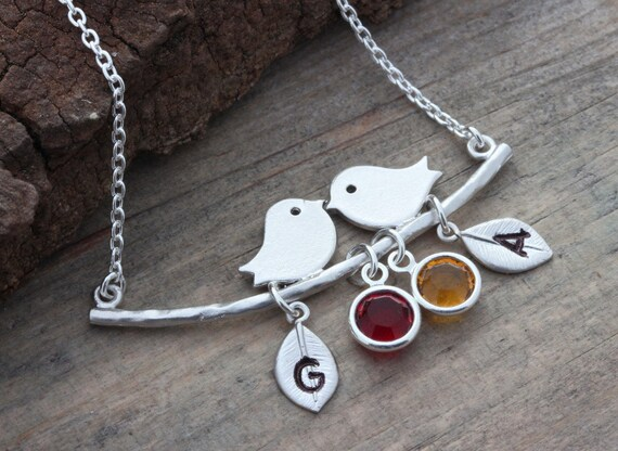 Bird Necklace . Lovebirds Necklace . Silver lovebirds pendant. Anniversary jewelry. Personalized with 4 Custom charms Included