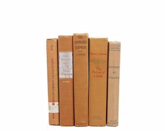 COpper Books, Brown Decorative Books, Antique Book Decor, Shabby Chic Old BOok Set, Orange BOoks, Wedding Decoration, Home staging,