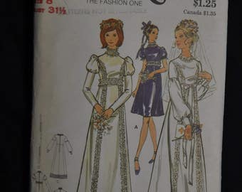 1970's Bridal Gown - Size 8 - Butterick 6476