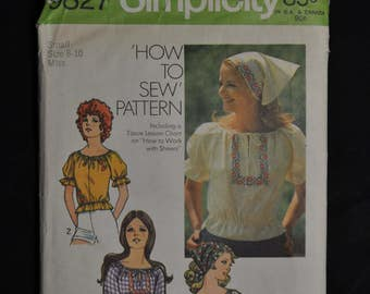 1970's Misses' Peasant Top - Size 8/10 - UNCUT - Simplicity 9827 - How to Sew Pattern
