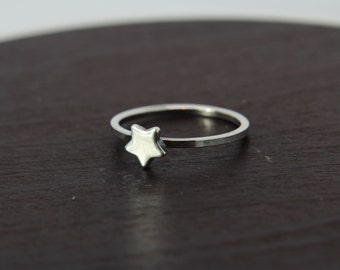 Star ring -Sterling silver ring '' Star '' Stacking ring - silver star ring - Star - delicate silver ring - gift - knuckle ring - midi ring
