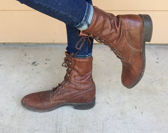 Vintage 80's Marbled Brown Leather Lace Up Combat Roper Boots // Women's size 8.5