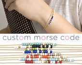 Custom Morse Code 2 Layer Satellite Bracelet, Gold / Silver, 10 Color Option, Bridesmaid Wedding Girlfriend Sister Gift, Bohemian boho MC wj