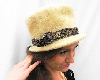 1950s Steampunk Sequin Fur Top Hat Vintage Italian Selene Cream Ornate Black Bronze Gold Leaf Embroidery Ribbon Bow Felix Designer Millinery