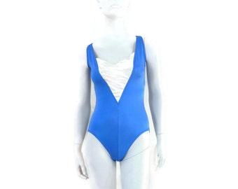 DeWeese Bathing Suit Womens Swimsuit  Blue Maillot 1pc Bathing Suit Vintage Swimwear Old Store Dead Stock sz14 #213