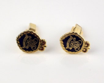 Royal Military Police Exemplo Ducemus Cufflinks Blue and Red Cuff Links Gold Tone Metal Enamel Top