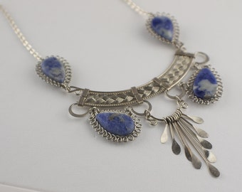Mid Length 1990s Stainless Steel Metal and Blue Soap Stone Orante Necklace