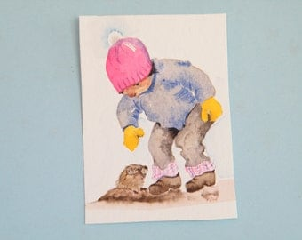 Ground hog day,  miniature original,  watercolor art,  little boy aceo,  winter painting,  mini wall art,  art for kids,  kids illustrator