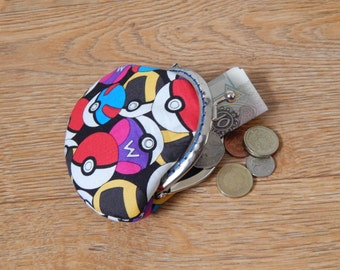 Colourful Pokeball patterned metal frame coin purse - Pokemon