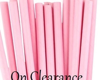Solid Pink Paper Straws