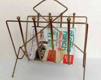 Mid Century/Brass Magazine Rack/Atomic Era Storage/Home Decor *Price Includes Domestic Shipping