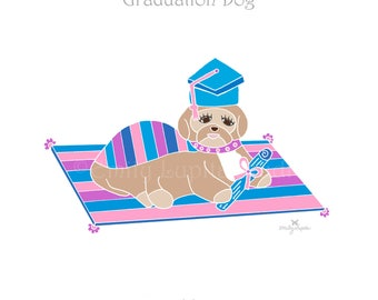 "Illustration Art Print ""Graduation Dog"" / Dog Graduation Pet Portrait  / Animal Pet Memorial / Print at Home Artwork"