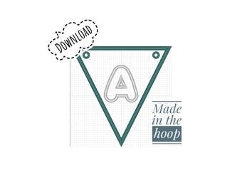 In The Hoop, Alphabet Bunting, Machine Embroidery, 4x4 Hoop, Multiple Formats, Instructions Included, Instant Download