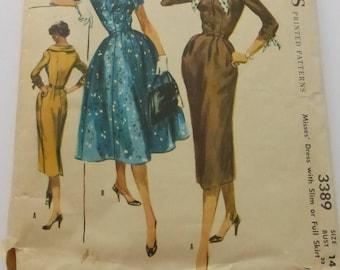 Vintage McCall's 3389 Misses Dress with Slim or Full Skirt Misses Size 14