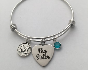 Silver Bangle Bracelet, Big Sister, Middle Sister, Little Sister, Siblings, Family jewelry