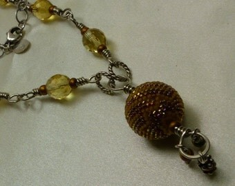 "Sterling Silver Faceted Citrine bead & drop Necklace- 26 grms-24"" long- 10mm beads-20mm drop bead 1666"