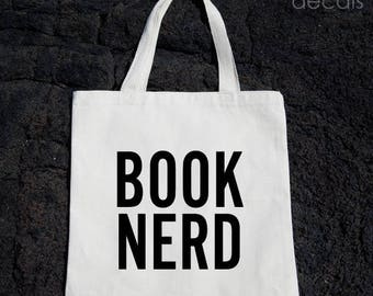 Book Nerd Tote Bag Gift For Reader Funny Canvas Bag, Canvas Tote Bag, Shopping Bag, Grocery Bag, Funny Reusable Cotton Bag