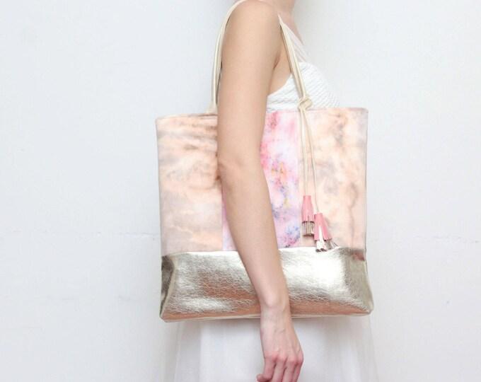 Dyed large tote-leather shoulder bag-denim shopping bag-hand colored tie dyed shoulder purse-gold leather bag-beige coral gold nude /BASIC 7