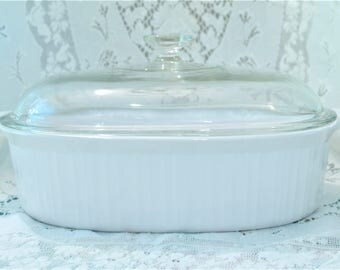 4 Liter Corning Ware French White Baking Dish Roaster F 14 B Helper Handles on Ends Domed Pyrex Lid F 14 G