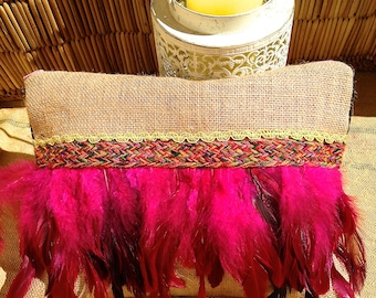 Pouch/clutch adorned with Rooster feathers